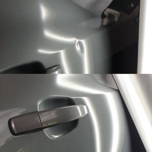 samochód wgniecenie klamka przed i po