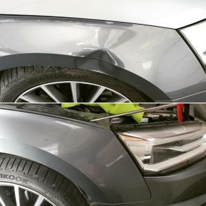 samochód szary wgniecenie nad kołem przed i po