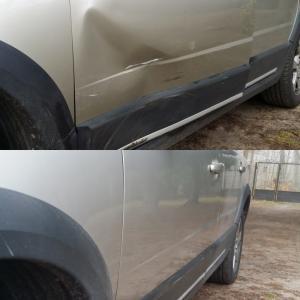 samochód wgniecenie drzwi przed i po