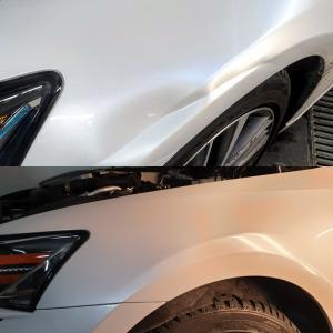 samochód wgniecenie nad kołem przed i po